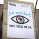Banner an der Carl-Hanh-Schule gegen Rechts
